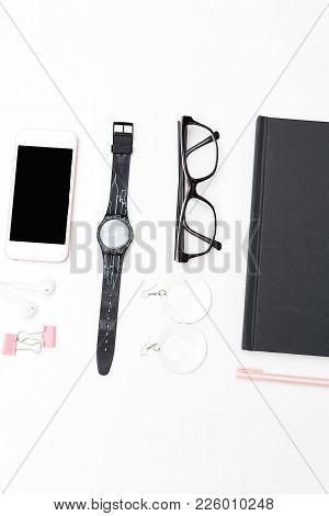 Stylish Workplace Girl. Accessories On A White Background