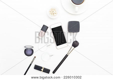 Female Cosmetics And Accessories On A White Background. Beauty Flat Lay