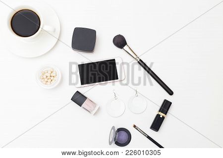 Female Cosmetics And Accessories On A White Background. Minimalism Flat Lay