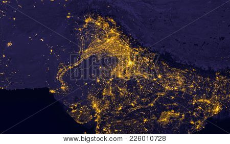 India Lights During Night As It Looks Like From Space. Elements Of This Image Are Furnished By Nasa.
