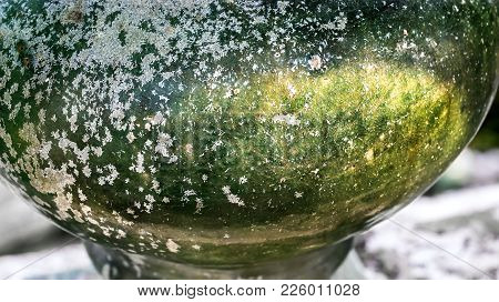Texture Cracked Ceramic Porcelain Green. Texture Cracked Chinaware Vintage Style And Surface Of The