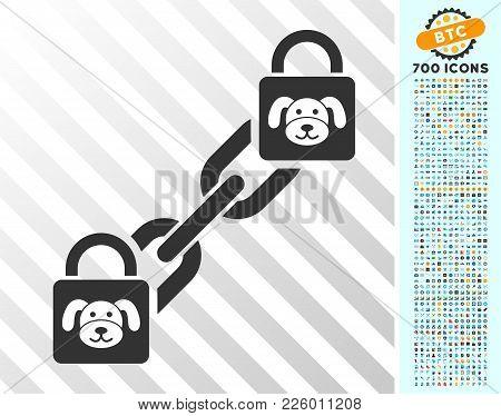 Puppy Blockchain Pictograph With 700 Bonus Bitcoin Mining And Blockchain Graphic Icons. Vector Illus