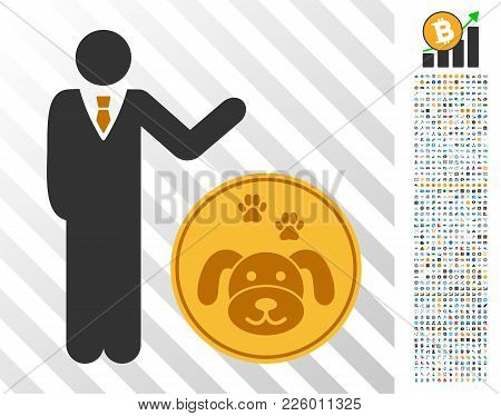 Businessman Show Puppycoin Icon With 7 Hundred Bonus Bitcoin Mining And Blockchain Design Elements.