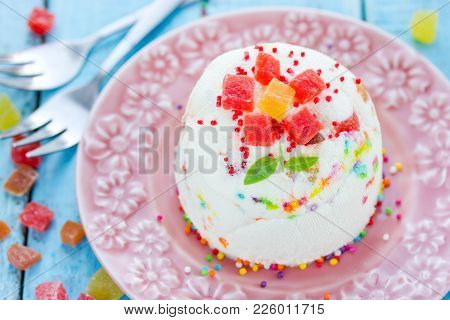 Delicious Easter Quark Dessert With Candied Fruit