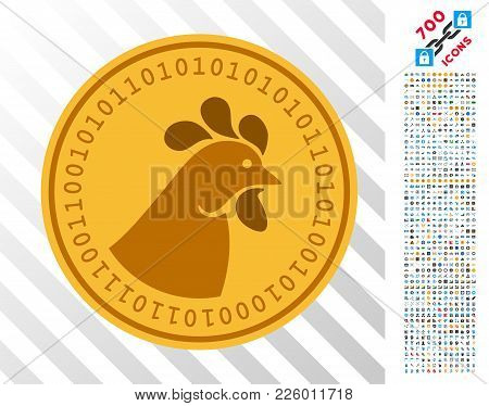 Crypto Chicken Coin Icon With 700 Bonus Bitcoin Mining And Blockchain Graphic Icons. Vector Illustra