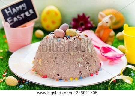 Chocolate Cottage Cheese Dessert For Easter, Traditional Springe Holiday Treat Easter Curd