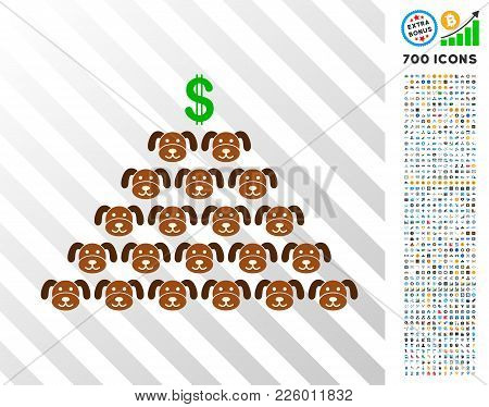 Puppycoin Pyramid Scheme Icon With 700 Bonus Bitcoin Mining And Blockchain Images. Vector Illustrati