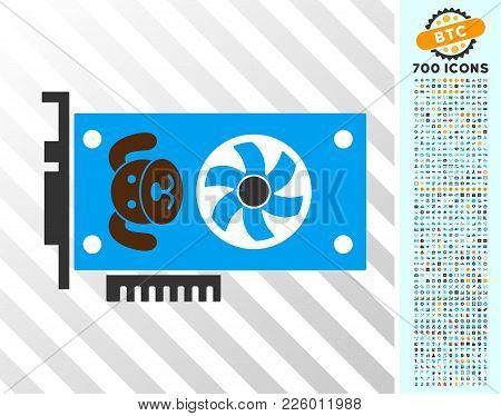 Puppycoin Gpu Card Icon With 7 Hundred Bonus Bitcoin Mining And Blockchain Pictograms. Vector Illust