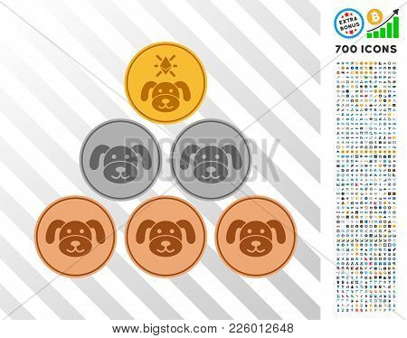 Pup Coins Icon With 700 Bonus Bitcoin Mining And Blockchain Clip Art. Vector Illustration Style Is F