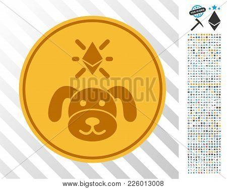 Crypto Puppy Coin Icon With 7 Hundred Bonus Bitcoin Mining And Blockchain Pictograms. Vector Illustr