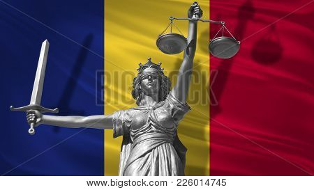Cover About Law. Statue Of God Of Justice Themis With Flag Of Romania Background. Original Statue Of