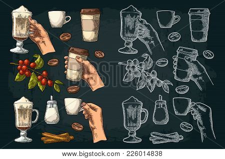 Set Coffee. Glass Latte With Whipped Cream And Cinnamon Stick. Female Hand Hold Cup. Sugar, Beans, B