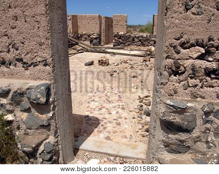 The Stone Doorway Of The Butterfield Stage Station Near Stanwix Arizona. This Stagecoach Station Bur