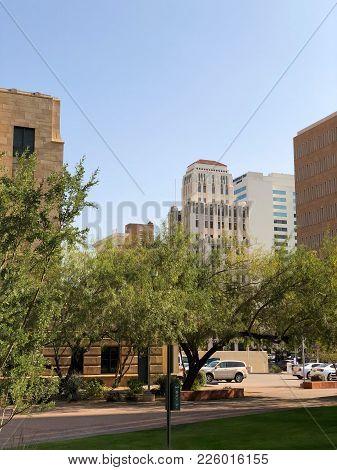 Phoenix, Az, Usa - December 14, 2017: Historic 100 Year Old High Rise Buildings And Modern Skyscrape