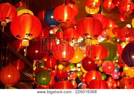 Chinese Lanterns During New Year Festival,chinese New Year Lanterns In Chinatown, Firecracker Celebr