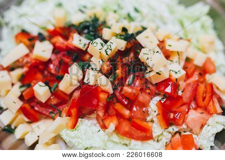 Homemade Vegetable Salat On White Background Top View