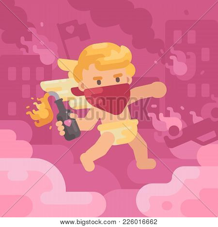 Cute Rebel Cupid Throwing Molotov Cocktail In A Burning City. Valentines Day Concept Flat Illustrati