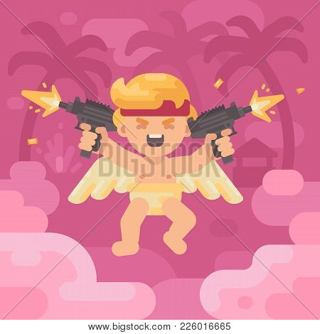 Cute Cupid Shooting Two Uzis In A Tropical Landscape. Valentines Day Greeting Card Flat Illustration