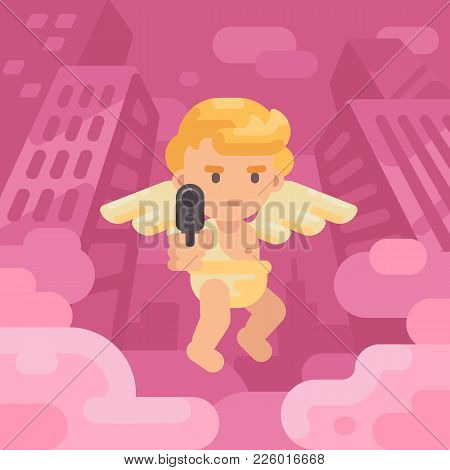 Cute Cupid Pointing A Gun At You In A City Street. Valentines Day Greeting Card Flat Illustration