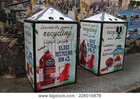 Beirut, Lebanon, 26.01.2018, Glass Recycling Container With Advertisement