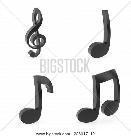 3d Rendering Of Curved Music Symbols Rendered With Soft Shadows On White Background