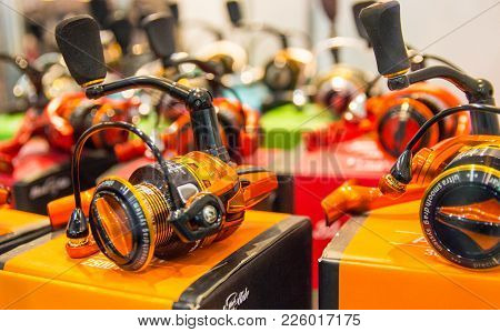Poznan, Poland - February 10, 2018: Fishing Fairs ,,rybomania,, In Poland. Different Fishing Reels.