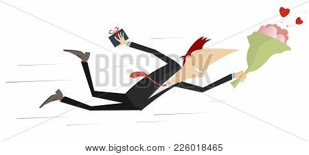 Flying Man With A Bunch Of Flowers And Present Isolated Illustration. Lucky Man Falls In Love And Hu