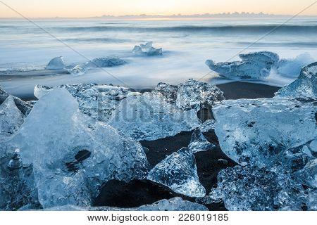 The Jokulsarlon Glacier Lagoon And Ice Beach Diamond Beach Jokulsarlon At Sunrise In South Iceland L