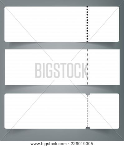 Set Of Blank Event Concert Ticket Mockup Template. Concert, Party Or Festival Ticket Design Template