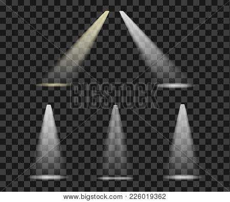 Set Lights To Ligh The Lighting Scene Bright Shining Refelectors - Isolated Vector On Transparent Ba