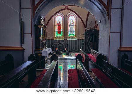 Biskupiec, Poland - August 24, 2017: St John The Baptist Church In Biskupiec Town In Masurian Lake D