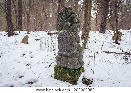 Narewka, Poland - January 26, 2018: Gravestone On Old Jewish Cemetery In Narewka, Small Village In P