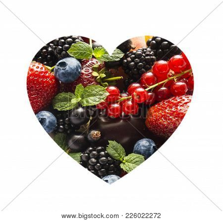Berries In Heart Shape Isolated On A White. Heart Shape Assorted Berry Fruits On White Background. M