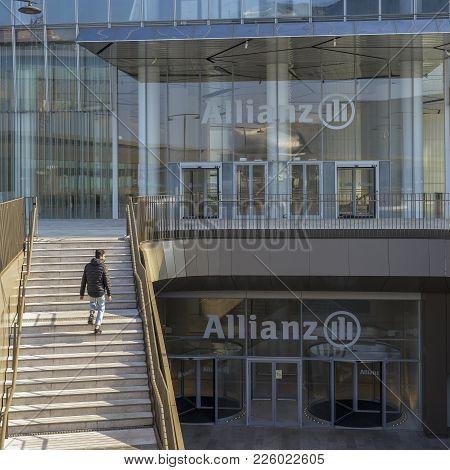Entrance To The Allianz Tower, A 50-floor 209 Metre Tall Skyscraper In Milan, Italy. In 2016, Il Dri
