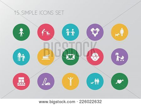 Set Of 15 Editable Kin Icons. Includes Symbols Such As Boy, Baby Onesie, Son And More. Can Be Used F
