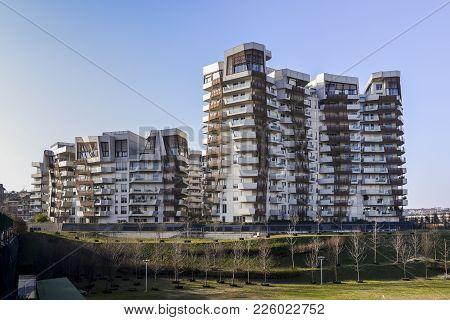 Milan, Italy - Feb 10, 2018: Citylife Libeskind Residences By Daniel Libeskind Architect