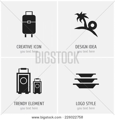 Set Of 4 Editable Trip Icons. Includes Symbols Such As Tourism, Bag, Dishes And More. Can Be Used Fo