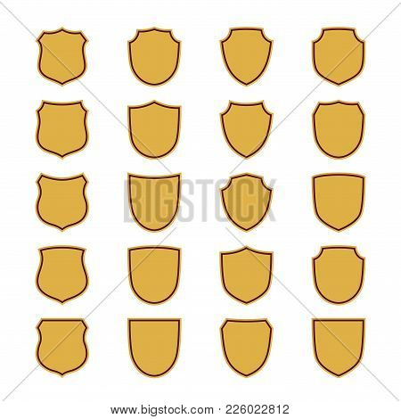 Shield Shape Gold Icons Set. Simple Flat Logo On White Background. Symbol Of Security, Protection, S