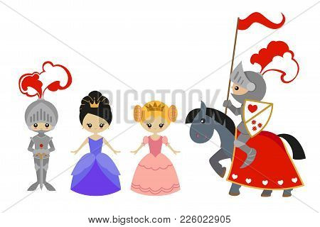 Princesses And Knights: Knight On Horseback Knight With A Sword, A Princess In Pink And Blue Dresses