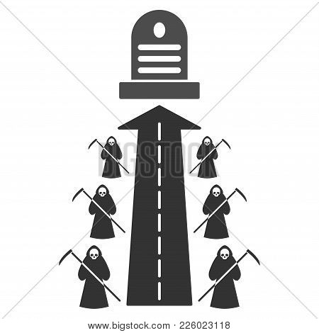 Fatal Road Flat Vector Illustration. An Isolated Icon On A White Background.