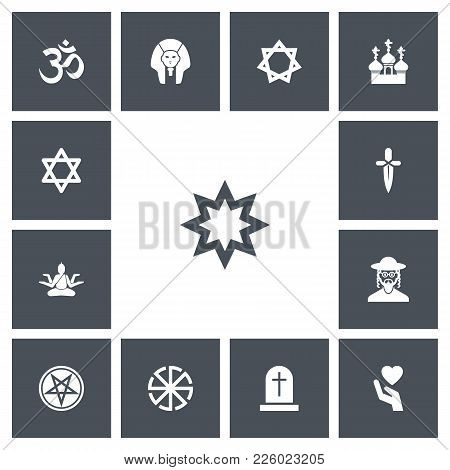 Set Of 13 Editable Religion Icons. Includes Symbols Such As Star, Pentagram, Jewish And More. Can Be