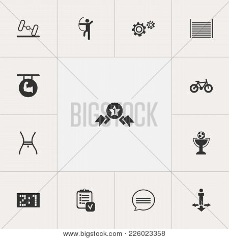 Set Of 13 Editable Complicated Icons. Includes Symbols Such As Gear, Barbell, Archer And More. Can B