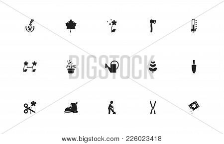 Set Of 15 Editable Planting Icons. Includes Symbols Such As Thermometer, Ax, Grains And More. Can Be