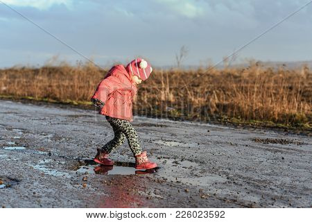 Little Girl Pass The Puddle, Children's Fun, Unforgettable Moments, Fun With Father, Life In Village