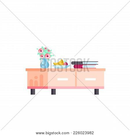 Vector Isolated Illustration Icon Furniture Curbstone, Chest Of Drawers, Tv Stand, With Books, Vase