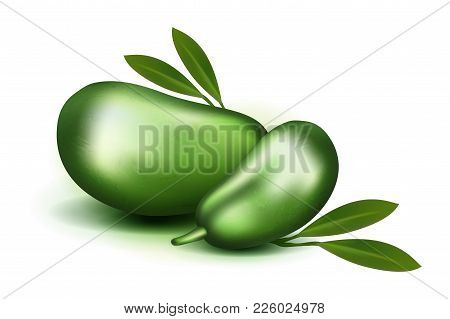 Photo Realistic 3d Vector Pulp And Seeds With Leaves Isolated On White Background Papaya Papaw Fruit
