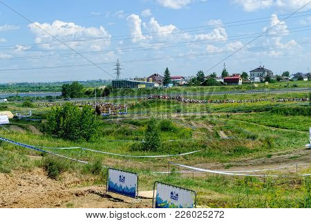 Tyumen, Russia - July 9, 2016: Steel Character Extrim Race On Voronino Hill. Athletes Line On Track