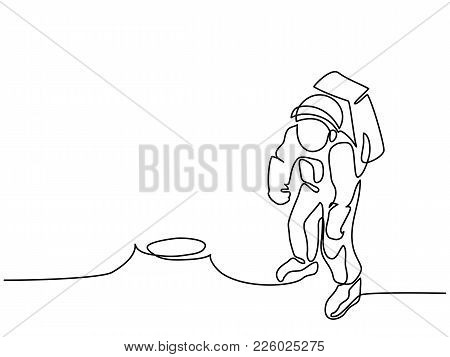 Continuous Line Drawing. Spaceman On The Moon. Vector Illustration