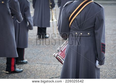 British Royal Guards In Winter Uniform Ready To Perform The Changing Of The Guard In Buckingham Pala