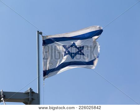 Israeli Flag On A Cruise Ship Sailing On The Sea Of Galilee In Israel
